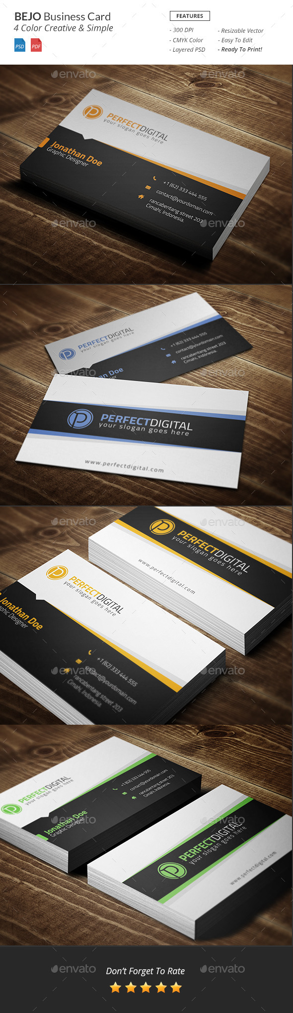 GraphicRiver Bejo Creative Business Card 10933949