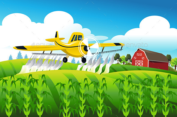GraphicRiver Duster Flying over Field 10934051