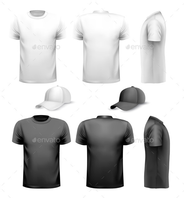 GraphicRiver Black and White Men T-Shirts 10934477