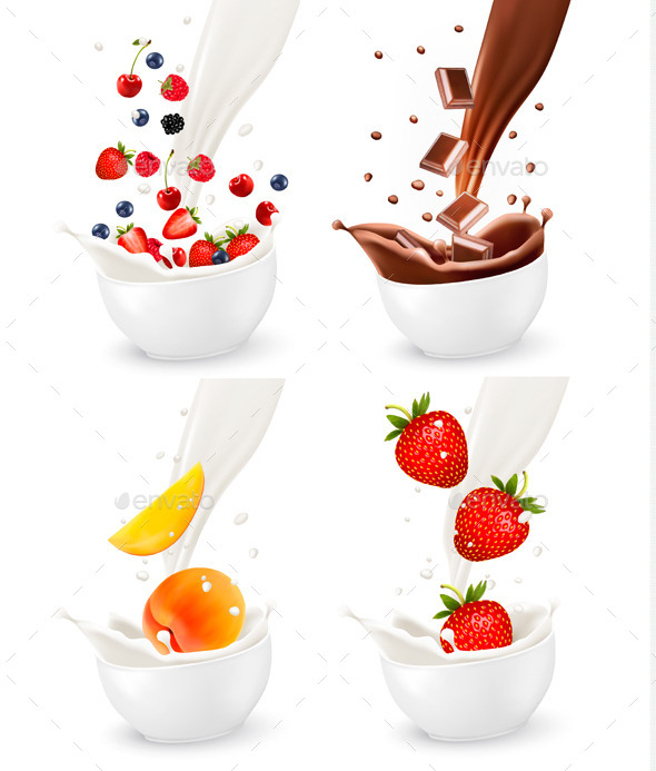 GraphicRiver Colorful Fruit Falling into a Milky Splash 10934505