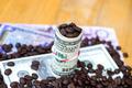 Money and roast coffee bean. - PhotoDune Item for Sale