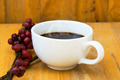 Hot coffee on the wood and raw coffee bean. - PhotoDune Item for Sale