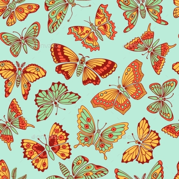 GraphicRiver Seamless Pattern with Decorative Butterflies 10934610