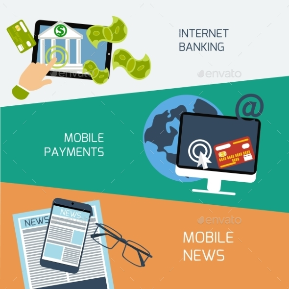 GraphicRiver Mobile News Payments and Internet Banking 10935608
