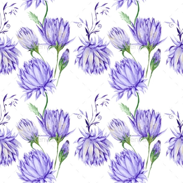 GraphicRiver Creative Watercolor Purple Floral Pattern 10935619