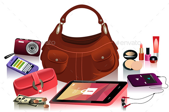 GraphicRiver Modern Female Bag and Accessories 10935620