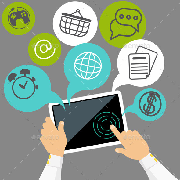 GraphicRiver Tablet with Applications 10907070