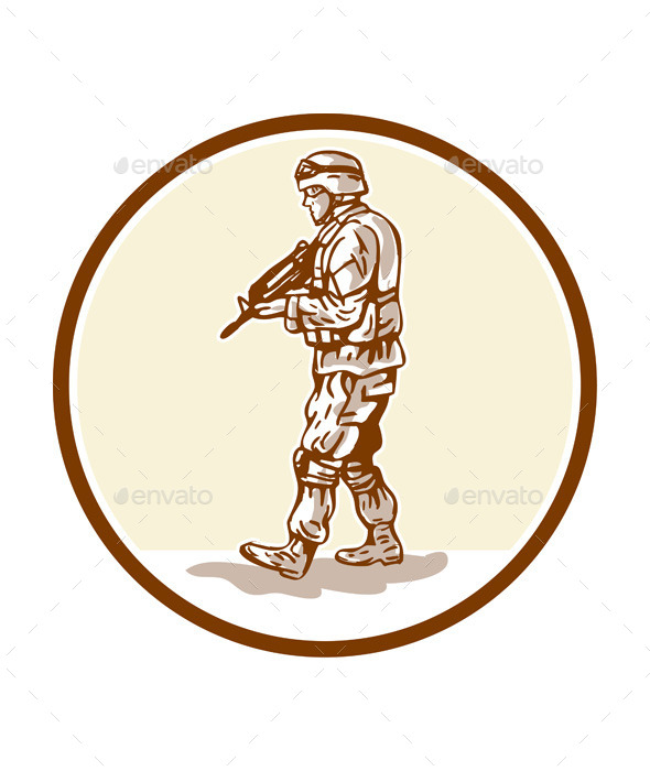 GraphicRiver American Soldier Rifle Walking Circle Cartoon 10935689