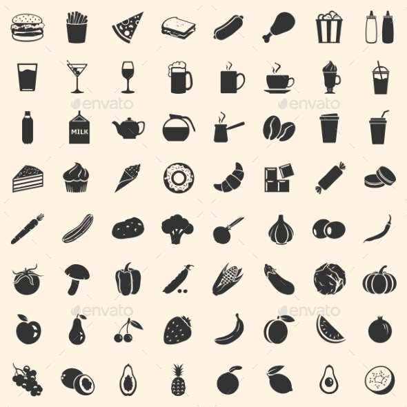 GraphicRiver Vector Set of 64 Food Icons 10935692