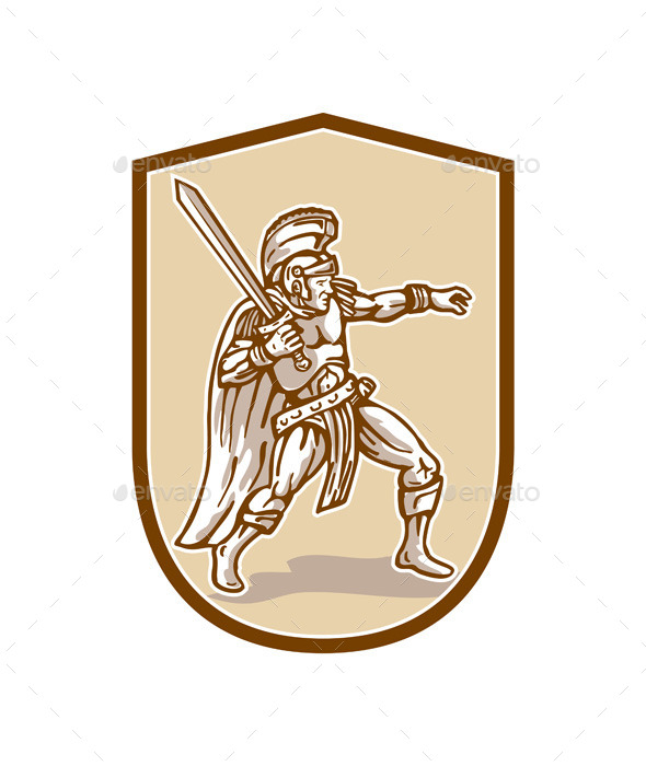 GraphicRiver Centurion Roman Soldier Wielding Sword Cartoon 10935752