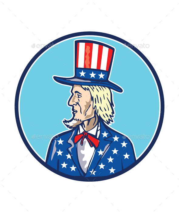 GraphicRiver Uncle Sam Top Hat American Flag Cartoon 10935759