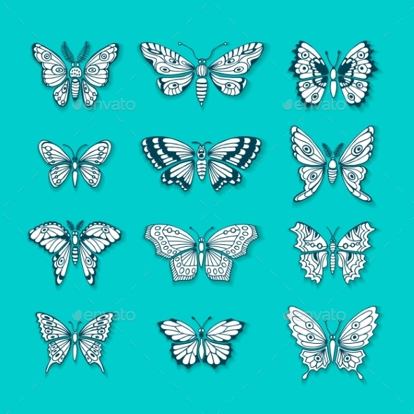 GraphicRiver Set of Butterflies Decorative Isolated Silhouettes 10935791