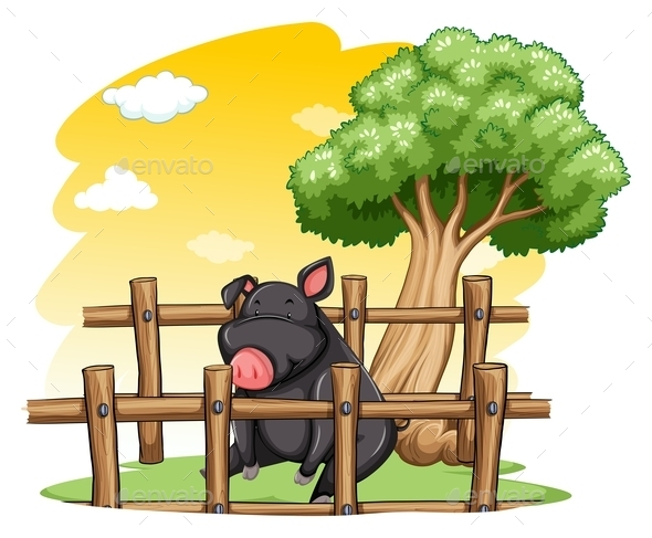 GraphicRiver Pig Inside the Fence 10935975
