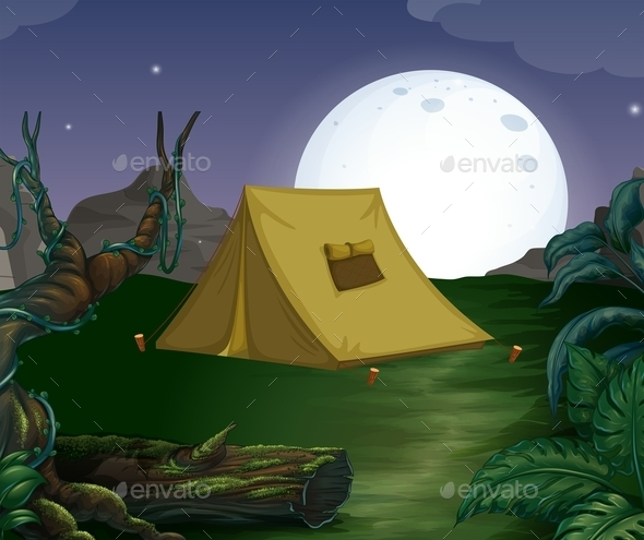 GraphicRiver Tent and Fullmoon 10936022