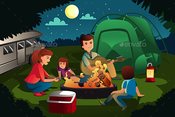 GraphicRiver Family Camping in the Forest 10936073