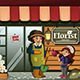Gardener in a Flower Shop with Kid - GraphicRiver Item for Sale