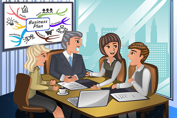 GraphicRiver Business People in a Meeting 10936267