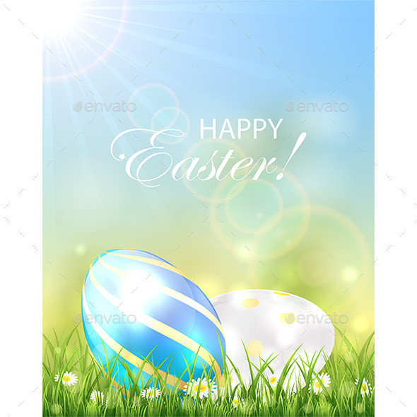 GraphicRiver Two Shiny Easter Eggs in the Grass 10936701