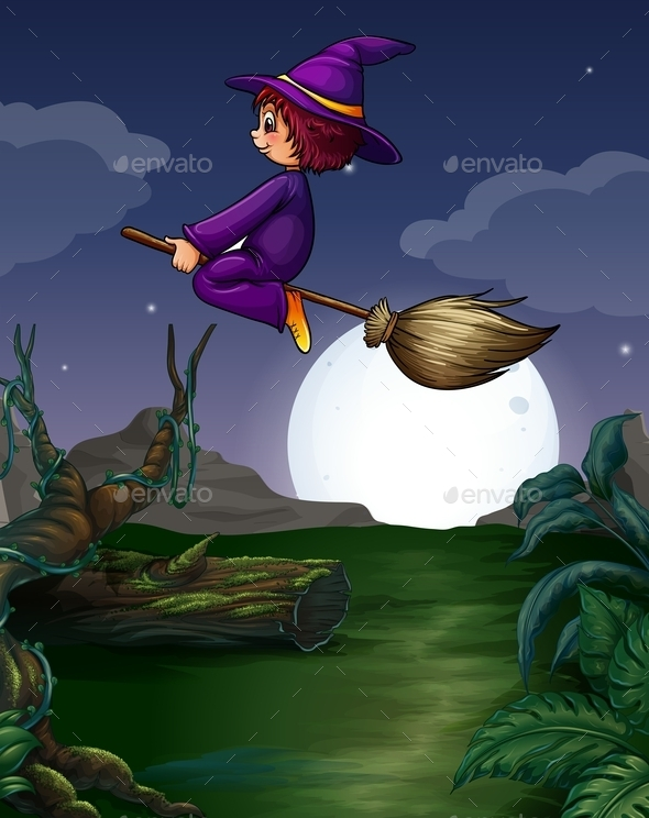 GraphicRiver Witch Flying 10936708