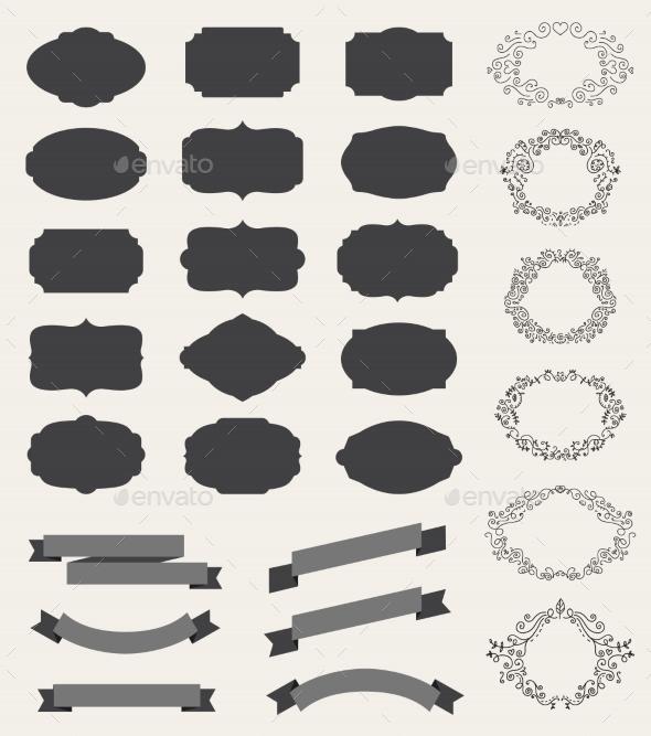 GraphicRiver Set of retro vintage labels blank frames 10936952