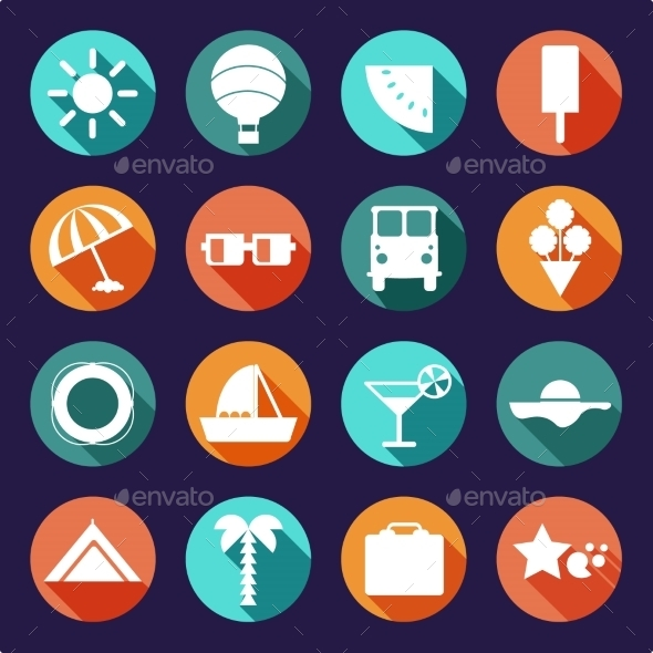 GraphicRiver Set of Summer and Travel Icons 10936979
