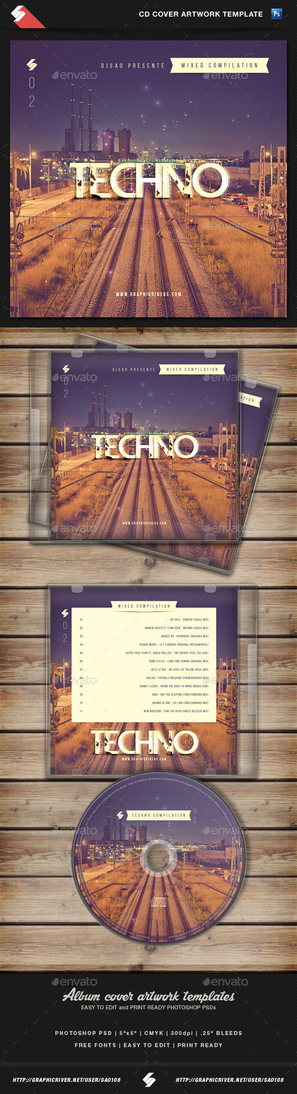 GraphicRiver Techno Mixed Compilation CD Cover Template 10937226