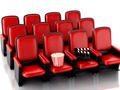 3d Cinema clapper board and popcorn on theater seat. - PhotoDune Item for Sale