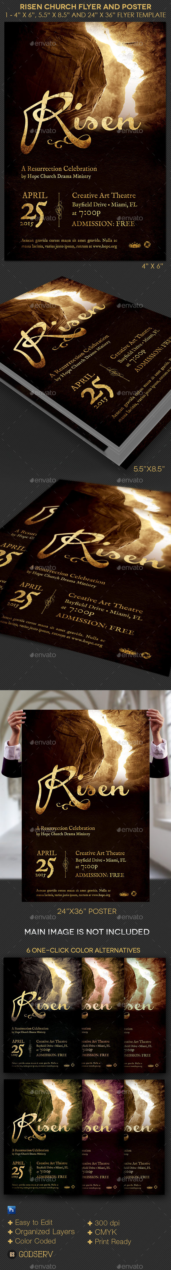 GraphicRiver Risen Church Flyer and Poster Template 10878464