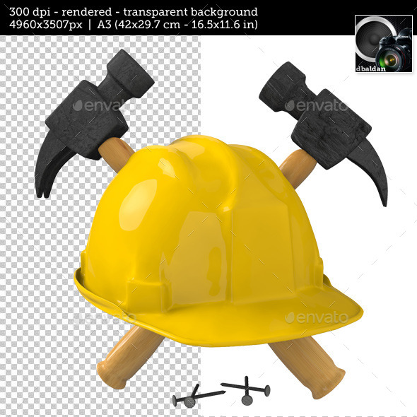 GraphicRiver Safety Helmet with Hammer and Nails 10937719
