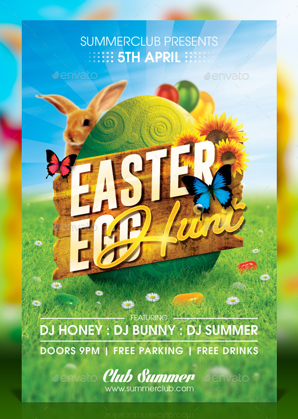 GraphicRiver Easter Egg Hunt Flyer 10868143