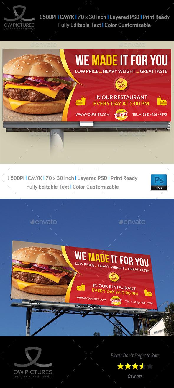 GraphicRiver Burger Restaurant Billboard Template Vol.5 10937766