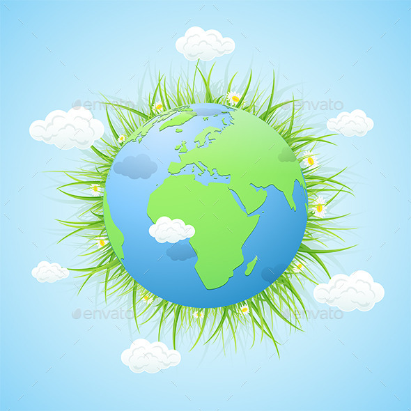 GraphicRiver Earth with Grass and Clouds on Blue Background 10937797