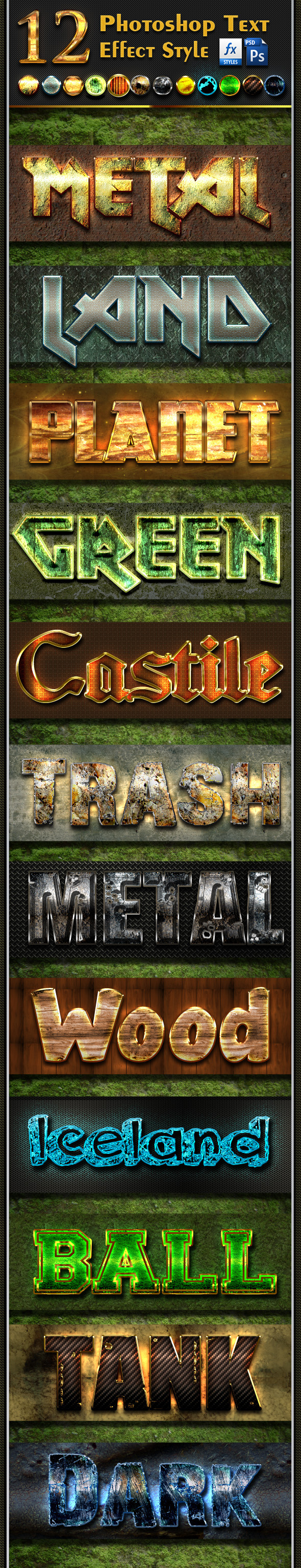 GraphicRiver 12 Photoshop Text Effect Styles Vol 8 10937944