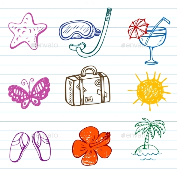 GraphicRiver Summer Doodles 10938254