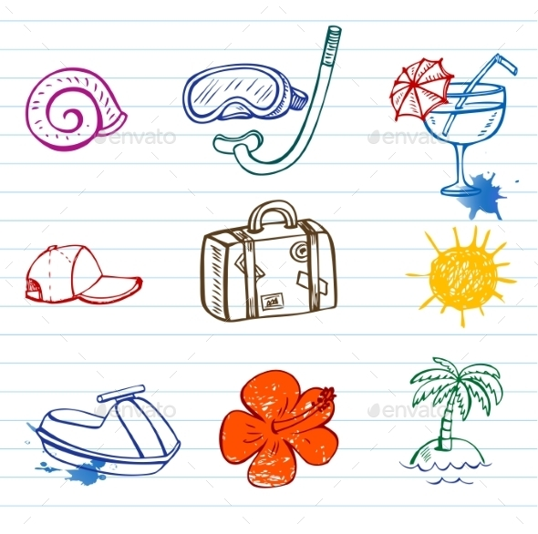 GraphicRiver Summer Doodles 10938287