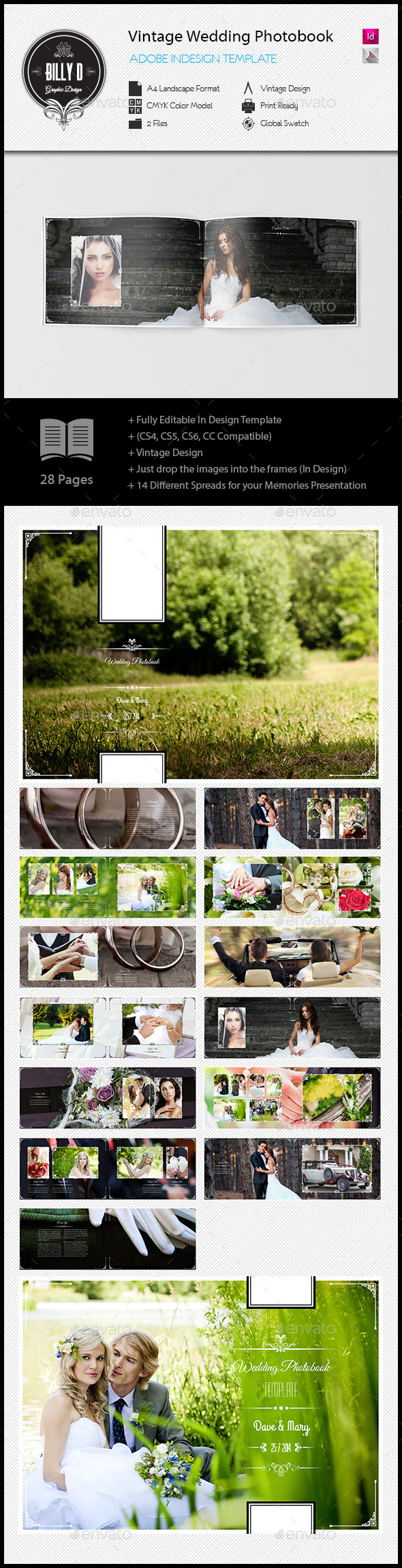GraphicRiver Vintage Wedding Photobook Template 10880629
