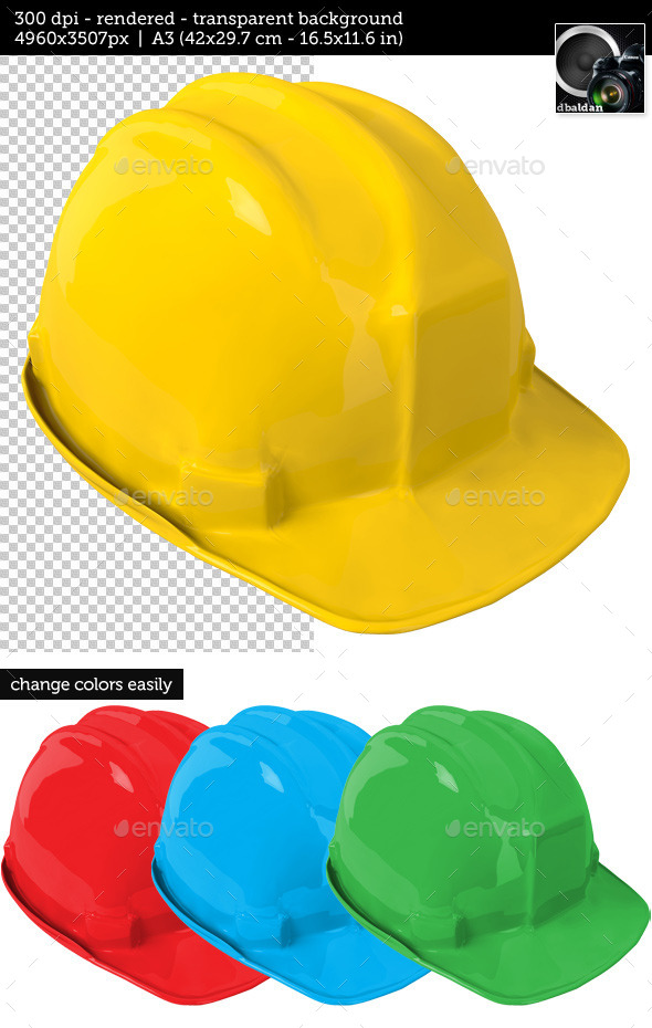 GraphicRiver Yellow Safety Helmet on Transparent Background 10938481