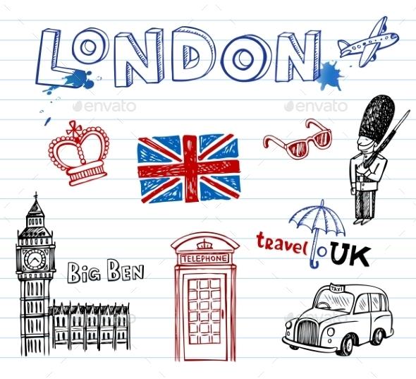 GraphicRiver London Doodles 10938545