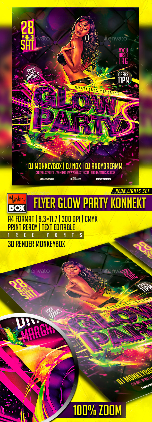 GraphicRiver Flyer Glow Party Konnekt 10938609