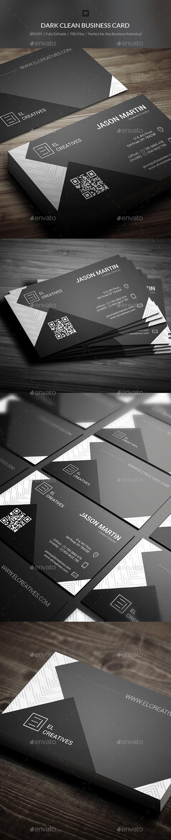 GraphicRiver Dark Clean Business Card 21 10890291