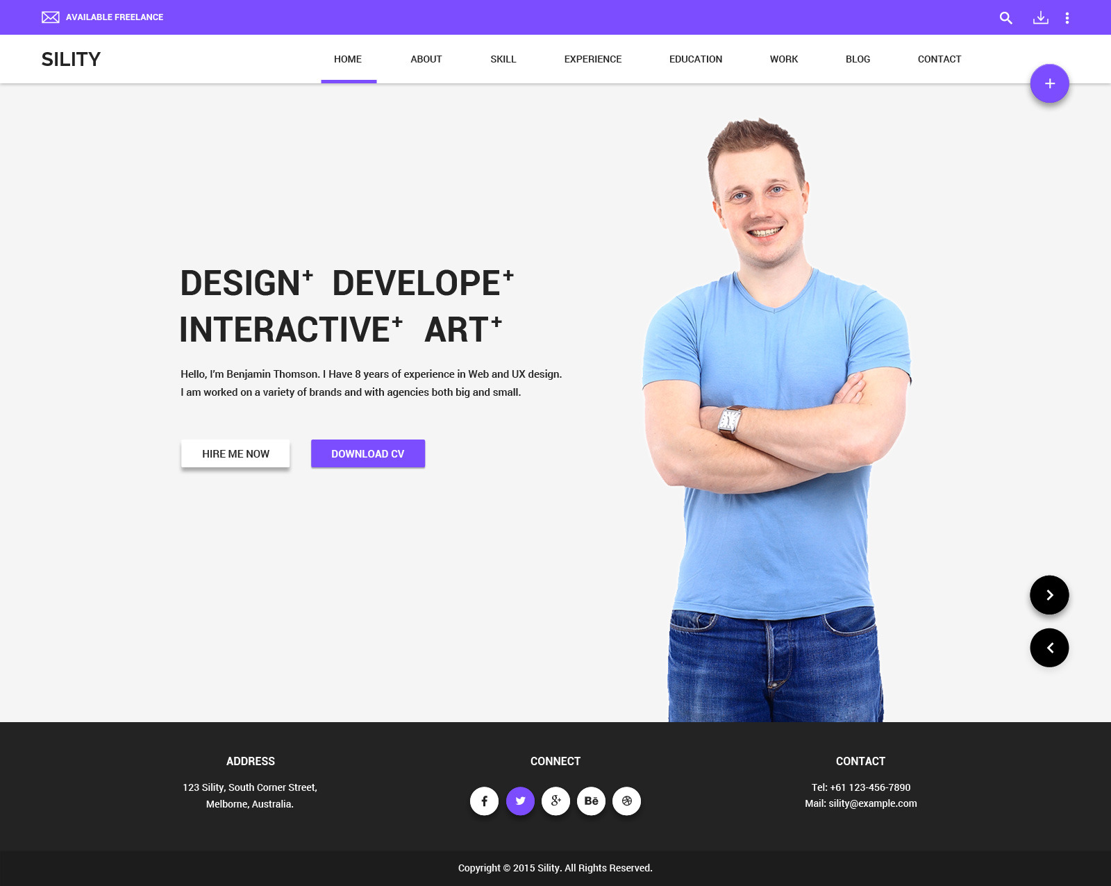 sility vcard cv resume html template - Resume Web Template