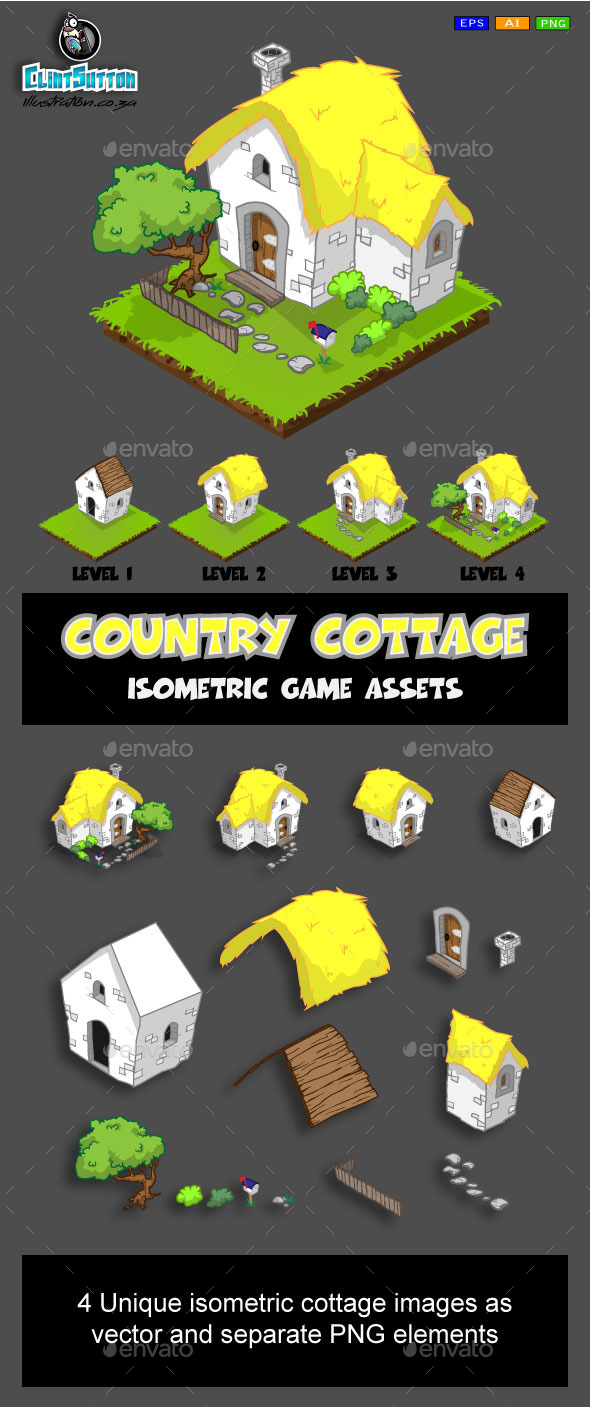 GraphicRiver Isometric game asset country cottage 10884797