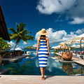 Woman sailor striped in dress near poolside - PhotoDune Item for Sale