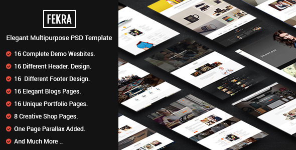 ThemeForest Fekra Elegant Multipurpose PSD Theme 10914633