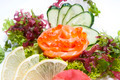 Japanese cuisine sashimi with vegetables and fish in a restaurant - PhotoDune Item for Sale