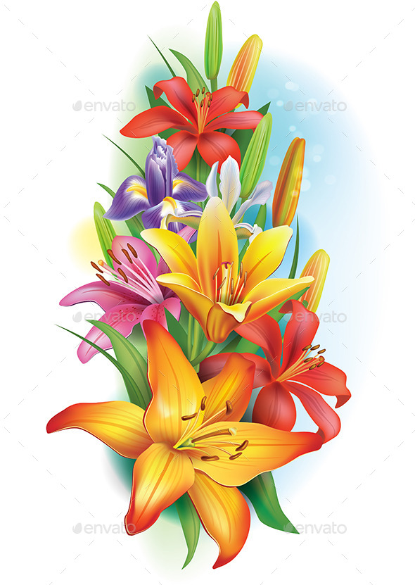 GraphicRiver Garland of Lilies and Iris Flowers 10940097