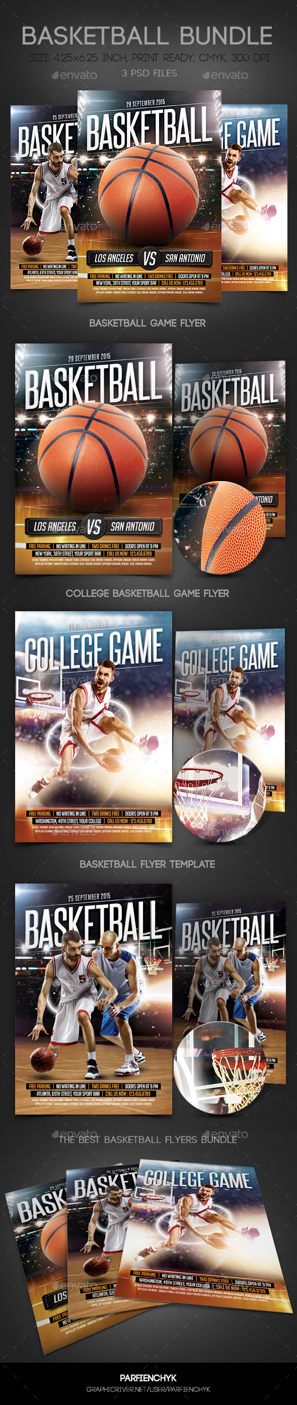 GraphicRiver BasketBall Flyers Bundle 10941091