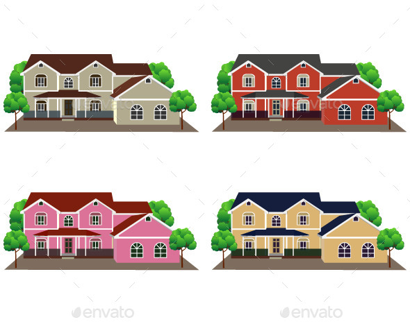 GraphicRiver Front View of Houses 10941115