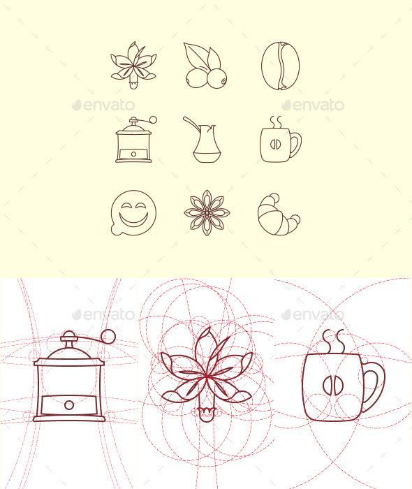GraphicRiver Coffee Set on Rounded Grid 10941134