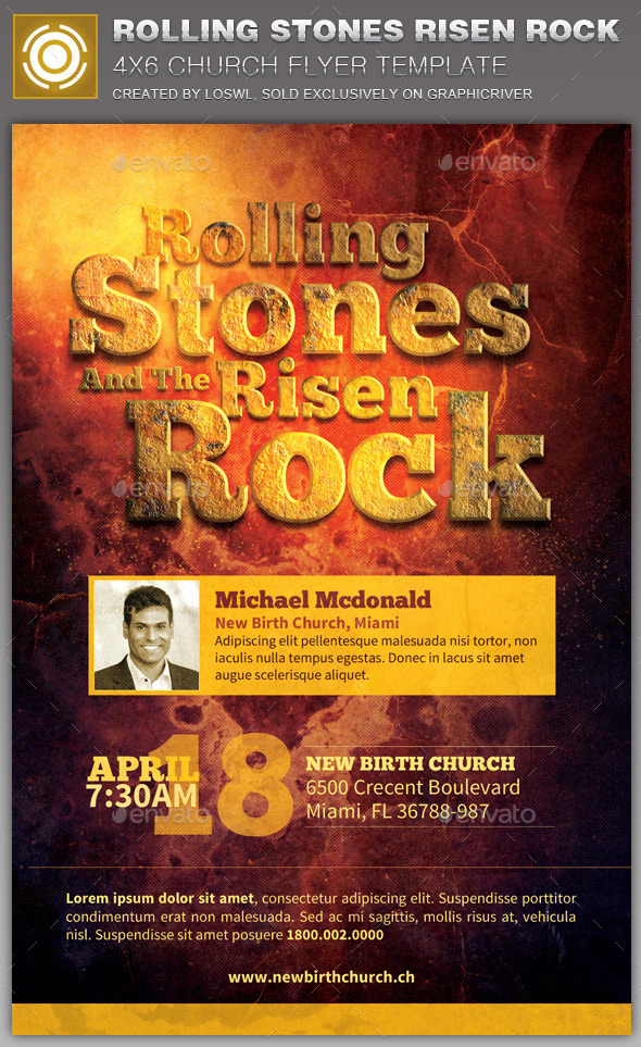 GraphicRiver Rolling Stones Risen Rock Church Flyer Template 10941295